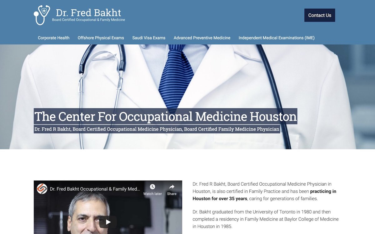 The Center For Occupational Medicine Houston - Dr. Fred Bakht